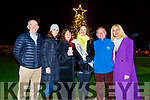 Guest of honour Sally-Ann Leahy (Kerry Rose 2019) switches on the lights at the Lighting of the Light to Remember Tree in UHK on Saturday. L to r: Fergal Grimes (Manager UHK), Mari O'Connell (Director of Nursing UHK), Dr Dr Patricia Sheehan (Palliative Medicine Consultant), Sally-Ann Leahy (Kerry Rose 2019), Joe Hennerby and Fiona Walsh.