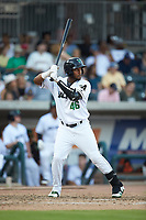 Mikey Edie (46) of the Augusta GreenJackets at bat against the Kannapolis Intimidators at SRG Park on July 6, 2019 in North Augusta, South Carolina. The Intimidators defeated the GreenJackets 9-5. (Brian Westerholt/Four Seam Images)