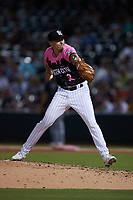 Charlotte Knights relief pitcher Tyler Johnson (17) in action against the Gwinnett Stripers at Truist Field on July 17, 2021 in Charlotte, North Carolina. (Brian Westerholt/Four Seam Images)