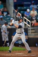 Staten Island Yankees catcher Josh Breaux (28) at bat during a game against the Aberdeen IronBirds on August 23, 2018 at Leidos Field at Ripken Stadium in Aberdeen, Maryland.  Aberdeen defeated Staten Island 6-2.  (Mike Janes/Four Seam Images)