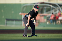 Umpire Jennifer Pawol handles the calls on the bases during the South Atlantic League game between the Rome Braves and the Kannapolis Intimidators at Kannapolis Intimidators Stadium on July 3, 2019 in Kannapolis, North Carolina.  The Braves defeated the Intimidators 13-11, (Brian Westerholt/Four Seam Images)