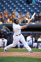 Akron RubberDucks designated hitter Anthony Gallas (30) at bat during a game against the New Britain Rock Cats on May 21, 2015 at Canal Park in Akron, Ohio.  Akron defeated New Britain 4-2.  (Mike Janes/Four Seam Images)