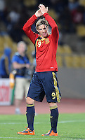 Fernando Torres of Spain applauds the fans as he leaves the field after being substituted. Spain defeated New Zealand 5-0 during the FIFA Conferderations Cups at Royal Bafokeng Stadium, in Rustenburg South Africa on June 14, 2009.