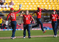 England's Katherine Brunt celebrates dismissing Sophie Devine during the 3rd international women's T20 cricket match between the New Zealand White Ferns and England at Sky Stadium in Wellington, New Zealand on Sunday, 7 March 2021. Photo: Dave Lintott / lintottphoto.co.nz