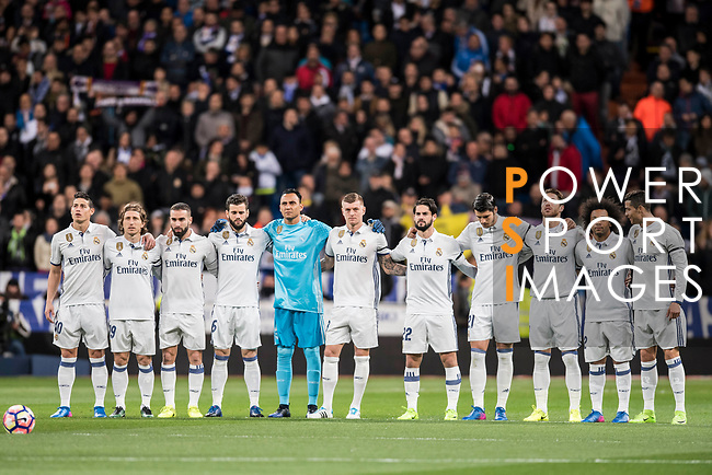 Players of Real Madrid line up and pose for a photo prior to the La Liga match between Real Madrid and Real Betis at the Santiago Bernabeu Stadium on 12 March 2017 in Madrid, Spain. Photo by Diego Gonzalez Souto / Power Sport Images