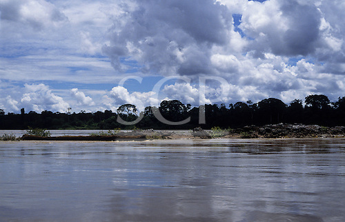 Rondonia State, Brazil. The Madeira River in full flood with forested banks.