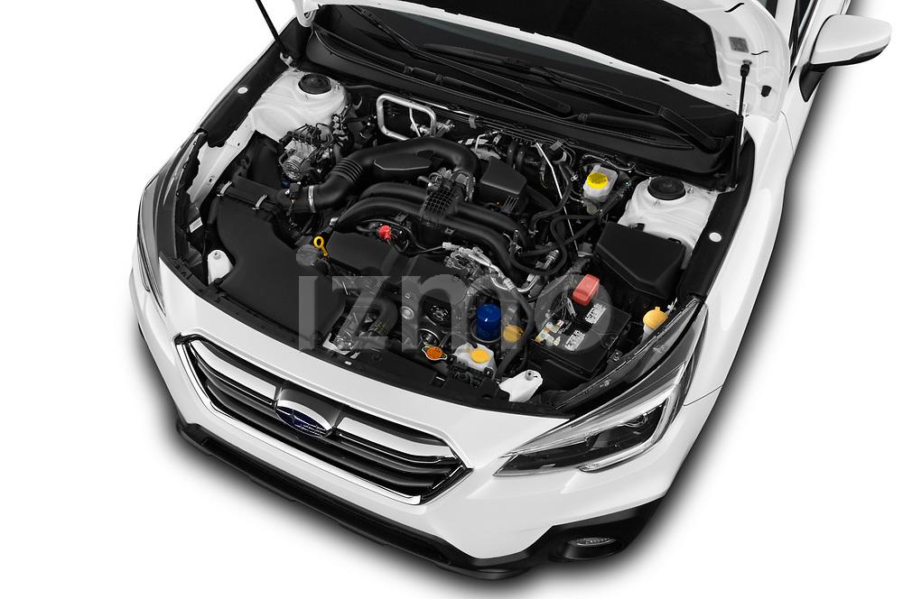 Car stock 2018 Subaru Outback Premium 5 Door Wagon engine high angle detail view