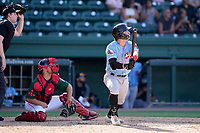 Second baseman Trevor Hauver (20) of the Hickory Crawdads in a game against the Greenville Drive on Sunday, August 29, 2021, at Fluor Field at the West End in Greenville, South Carolina. The catcher is Stephen Scott (23) and the umpire is Mitch Leikam. (Tom Priddy/Four Seam Images)