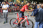 Eugenio Alafaci (ITA) Trek-Segafredo at sign on before the start of the 99th edition of Milan-Turin 2018, running 200km from Magenta Milan to Superga Basilica Turin, Italy. 10th October 2018.<br /> Picture: Eoin Clarke | Cyclefile<br /> <br /> <br /> All photos usage must carry mandatory copyright credit (© Cyclefile | Eoin Clarke)