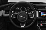 Car pictures of steering wheel view of a 2018 Jaguar XF Sportbrake R Sport 5 Door Wagon