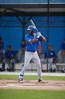 Toronto Blue Jays right fielder Josh Palacios (14) at bat during an Instructional League game against the Philadelphia Phillies on October 7, 2017 at the Englebert Complex in Dunedin, Florida.  (Mike Janes/Four Seam Images)