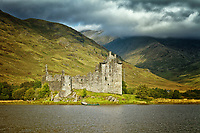 A view across the loch at the very scenic Kilchurn Castle in Scotland.