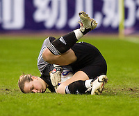 Goalkeeper Tinja-Riikka Korpela of Finland. The U.S. defeated Finland, 4-1 during the Four Nations Tournament in  Guangzhou, China on January 18, 2008.