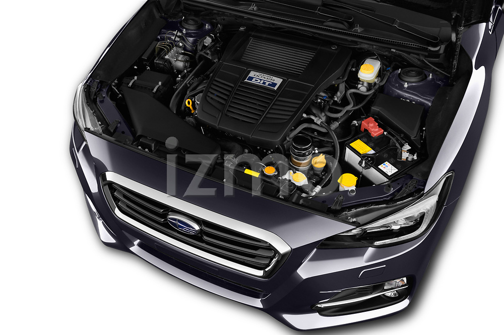Car stock 2017 Subaru Levorg GT-S Premium 5 Door Wagon engine high angle detail view
