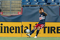 FOXBOROUGH, MA - AUGUST 7: Isaac Angking #5 of New England Revolution II clears the ball during a game between Orlando City B and New England Revolution II at Gillette Stadium on August 7, 2020 in Foxborough, Massachusetts.