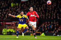 Sunday 05 January 2014<br /> Pictured:Wayne Routledge scores against Man Utd in the first half <br /> Re: Manchester Utd FC v Swansea City FA cup third round match at Old Trafford, Manchester