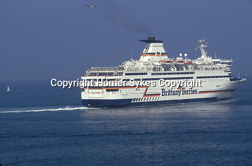 Brittany Ferries cross channel passenger ferry leaves St Malo for the UK France 2000s