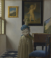 Full title: A Young Woman standing at a Virginal<br /> Artist: Johannes Vermeer<br /> Date made: about 1670-2<br /> Source: http://www.nationalgalleryimages.co.uk/<br /> Contact: picture.library@nationalgallery.co.uk<br /> <br /> Copyright © The National Gallery, London