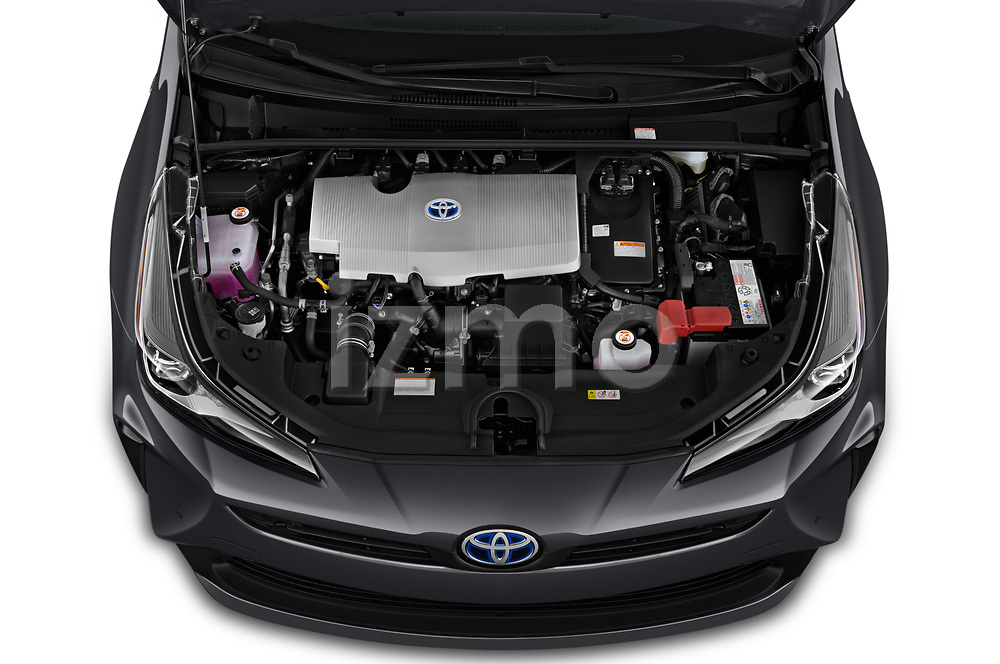 Car stock 2019 Toyota Prius XLE 5 Door Hatchback engine high angle detail view