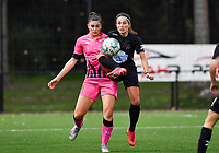 defender Noemie Fourding of Sporting Charleroi pictured in a fight for the ball with Woluwe's Stephanie Suenens (17) during a female soccer game between Sporting Charleroi and FC Femina White Star Woluwe on the second matchday of the 2020 - 2021 season of Belgian Scooore Women s SuperLeague , friday 4 th of September 2020  in Marcinelle , Belgium . PHOTO SPORTPIX.BE | SPP | DAVID CATRY