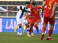 1st September 2021: Helsinki, Finland;   Finlands Nicholas H�m�l�inen and Dylan Levitt of Wales during the International Friendly Finland versus Wales at the Helsinki Olympic Stadium