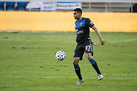 SAN JOSE, CA - NOVEMBER 04: Marcos Lopez #27 of the San Jose Earthquakes traps the ball during a game between Los Angeles FC and San Jose Earthquakes at Earthquakes Stadium on November 04, 2020 in San Jose, California.