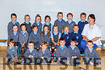 Ms Carol Ivers with her Junior Infants class in St Johns NS, Kenmare on Thursday