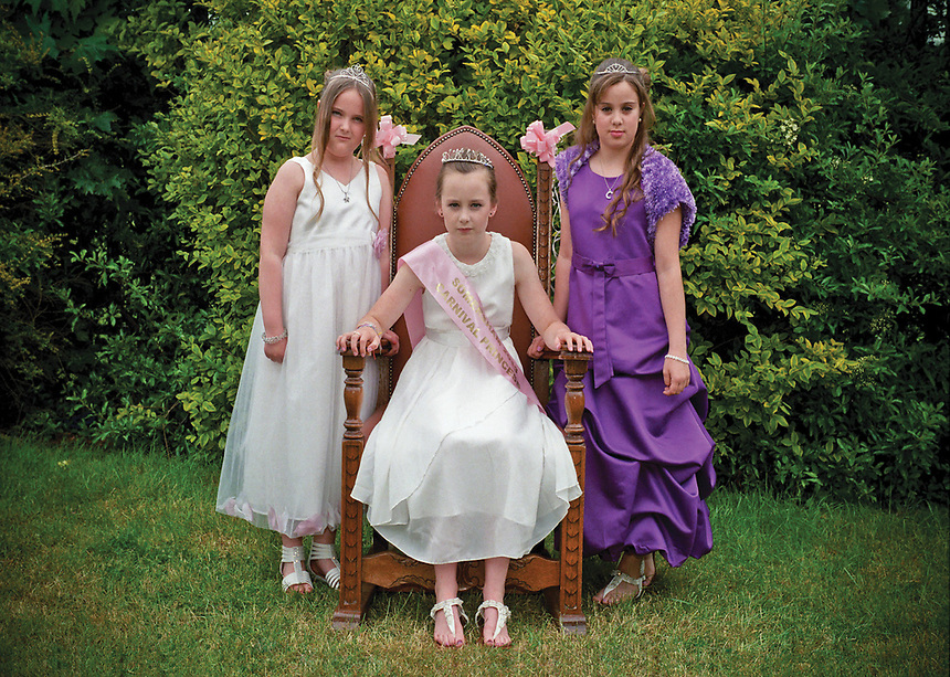"""Princess of Somersham, Jessica Stancombe attended by Miss Carla Rea & Miss Ella Hudson. <br /> <br /> """"The Princess soon carried out the first of her official duties by awarding the winners of the Country Craft Competition. """""""