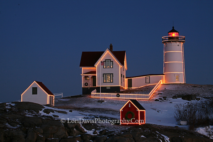 Christmas Lights decorate Nubble Light  #LH42
