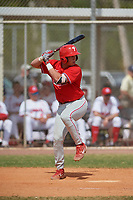 Philadelphia Phillies Matt Kroon (10) bats during an exhibition game against the Canada Junior National Team on March 11, 2020 at Baseball City in St. Petersburg, Florida.  (Mike Janes/Four Seam Images)