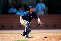 Mobile BayBears catcher Wade Wass (10) waits to receive a throw during a game against the Pensacola Blue Wahoos on April 26, 2017 at Hank Aaron Stadium in Mobile, Alabama.  Pensacola defeated Mobile 5-3.  (Mike Janes/Four Seam Images)