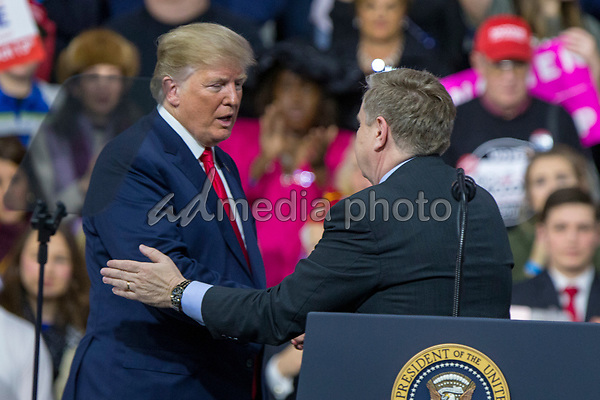 United States President Donald J. Trump shakes hands with Rick Saccone, Republican Congressional candidate for Pennsylvania's 18th district, during a Make America Great Again campaign rally at Atlantic Aviation in Moon Township, Pennsylvania on March 10th, 2018. Photo Credit: Alex Edelman/CNP/AdMedia