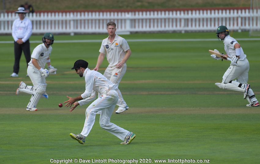 Action from day two of the Plunket Shield cricket match between the Wellington Firebirds and Central Districts at Basin Reserve in Wellington, New Zealand on Monday, 2 March 2020. Photo: Dave Lintott / lintottphoto.co.nz