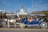 French Quarter, New Orleans, Louisiana.  Mule-drawn Carriage Passing by Jackson Square.  St. Louis Basilica in background.
