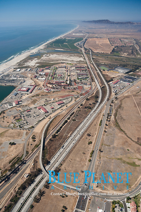 Camp Pendleton, viewed toward the north, including Pacific ocean and Interstate 5 freeway. Marine Corps Base Camp Pendleton.