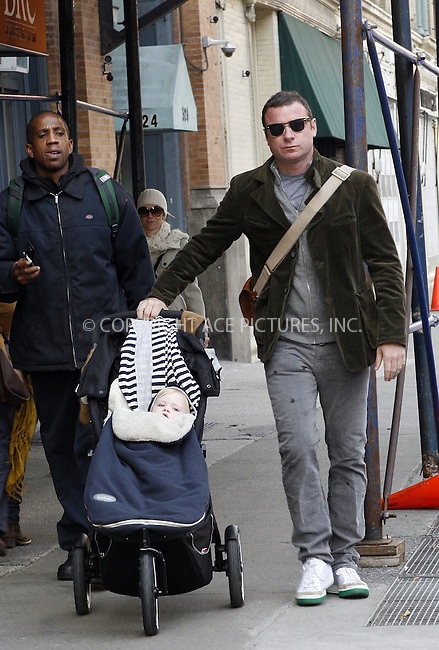 WWW.ACEPIXS.COM . . . . .  ....November 6 2009, New York City....Liev Schreiber and his son Samuel walk around his NoHo neighborhood on November 6, 2009 in New York City.....Please byline: NANCY RIVERA- ACE PICTURES.... *** ***..Ace Pictures, Inc:  ..tel: (212) 243 8787 or (646) 769 0430..e-mail: info@acepixs.com..web: http://www.acepixs.com