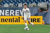 FOXBOROUGH, MA - AUGUST 7: Juan Pablo Monticelli #55 of Orlando City B looks to pass during a game between Orlando City B and New England Revolution II at Gillette Stadium on August 7, 2020 in Foxborough, Massachusetts.