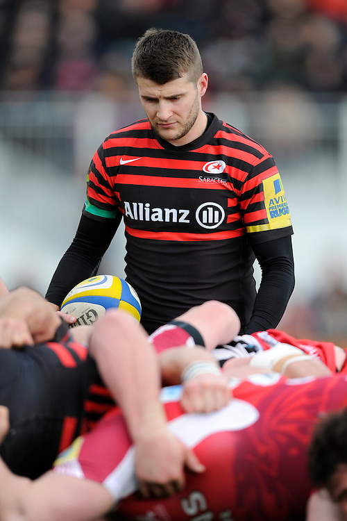 20130303 Copyright onEdition 2013©.Free for editorial use image, please credit: onEdition..Richard Wigglesworth of Saracens prepares to put the ball into a scrum during the Premiership Rugby match between Saracens and London Welsh at Allianz Park on Sunday 3rd March 2013 (Photo by Rob Munro)..For press contacts contact: Sam Feasey at brandRapport on M: +44 (0)7717 757114 E: SFeasey@brand-rapport.com..If you require a higher resolution image or you have any other onEdition photographic enquiries, please contact onEdition on 0845 900 2 900 or email info@onEdition.com.This image is copyright onEdition 2013©..This image has been supplied by onEdition and must be credited onEdition. The author is asserting his full Moral rights in relation to the publication of this image. Rights for onward transmission of any image or file is not granted or implied. Changing or deleting Copyright information is illegal as specified in the Copyright, Design and Patents Act 1988. If you are in any way unsure of your right to publish this image please contact onEdition on 0845 900 2 900 or email info@onEdition.com