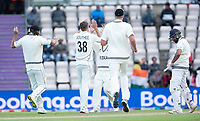Tim Southee, New Zealand is congratulated by team mates following the dismissal of Rohit Sharma during India vs New Zealand, ICC World Test Championship Final Cricket at The Hampshire Bowl on 22nd June 2021