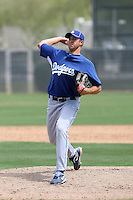 Justin Miller #54 of the Los Angeles Dodgers plays in a spring training game against the Milwaukee Brewers at the Brewers complex on April 2, 2011 in Phoenix, Arizona. .Photo by:  Bill Mitchell/Four Seam Images.