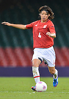 July 31, 2012..Japan's Saki Kumagai (4) in action during Football match between JPN and RSA at the Millennium Stadium on day four of 2012 Olympic Games  in Cardiff, United Kingdom...