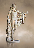 Side three quarter view of a 2nd century AD Roman statue of Apollo known as the Belvederre Apollo. The Apollo statue originally had a bow in its left hand and Apollo is depiceted having just fired an arrow.  Probably a Roman copy of a Hellenistic statue from around 330-320 BC by Leochares. Inv 1015, Vatican Museum Rome, Italy,  art background