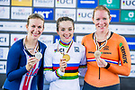 Elinor Barker of Great Britain celebrates winning in the Women's Points Race 25 km's prize ceremony with Sarah Hammer (l) of USA and Kirsten Wild (r) of the Netherlands during the 2017 UCI Track Cycling World Championships on 16 April 2017, in Hong Kong Velodrome, Hong Kong, China. Photo by Marcio Rodrigo Machado / Power Sport Images