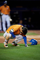 St. Lucie Mets shortstop Andres Gimenez (12) takes a moment after being hit by a pitch during the second game of a doubleheader against the Charlotte Stone Crabs on April 24, 2018 at First Data Field in Port St. Lucie, Florida.  St. Lucie defeated Charlotte 6-5.  (Mike Janes/Four Seam Images)