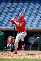 Philadelphia Phillies third baseman Alec Bohm (18) at bat during a Florida Instructional League game against the Toronto Blue Jays on September 24, 2018 at Spectrum Field in Clearwater, Florida.  (Mike Janes/Four Seam Images)