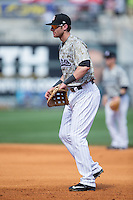 Birmingham Barons first baseman Danny Hayes (9) on defense against the Tennessee Smokies at Regions Field on May 3, 2015 in Birmingham, Alabama.  The Smokies defeated the Barons 3-0.  (Brian Westerholt/Four Seam Images)