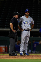 AZL Royals manager Tony Pena Jr. (1) argues with home plate umpire Austin Nelson during an Arizona League game against the AZL Cubs 1 on June 30, 2019 at Sloan Park in Mesa, Arizona. AZL Royals defeated the AZL Cubs 1 9-5. (Zachary Lucy/Four Seam Images)