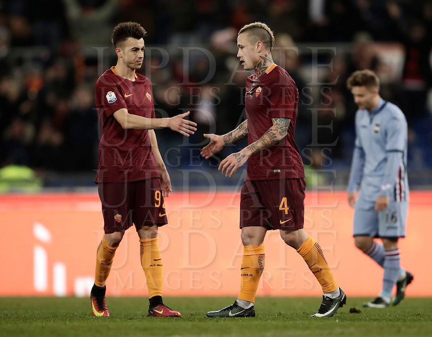 Calcio, ottavi di finale di Tim Cup: Roma vs Sampdoria. Roma, stadio Olimpico, 19 gennaio 2017.<br /> Roma's Radja Nainggolan, right, celebrates with teammate Stephan El Shaarawy after scoring during the Italian Cup round of 16 football match between Roma and Sampdoria at Rome's Olympic stadium, 19 January 2017.<br /> UPDATE IMAGES PRESS/Isabella Bonotto