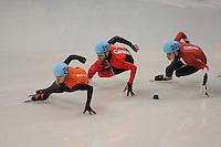 OLYMPICS: SOCHI: Iceberg Skating Palace, 13-02-2014, Shorttrack, Men's 1000m, Heats, Sjinkie Knegt (#248 | USA), Olivier Jean (#207 | CAN), Bence Beres (#222 | HUN), ©photo Martin de Jong