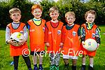 Enjoying the Firies juvenile raining at the Firies GAA grounds on Saturday morning. L to r: Alex Scanlon, Mark Callaghan, Adam Scanlon, Liam O'Sullivan and Liam Kelliher.